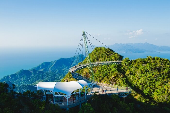 Photo of the breathtaking aerial view of the cable-stayed bridge in Langkawi
