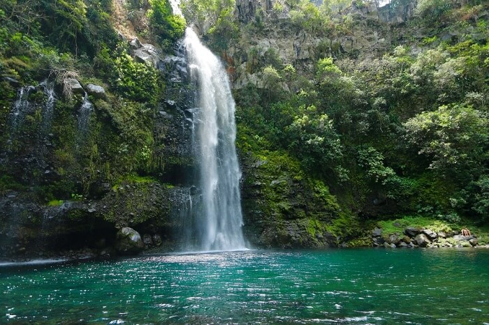 The Veil of the Bride Waterfall in Reunion Island
