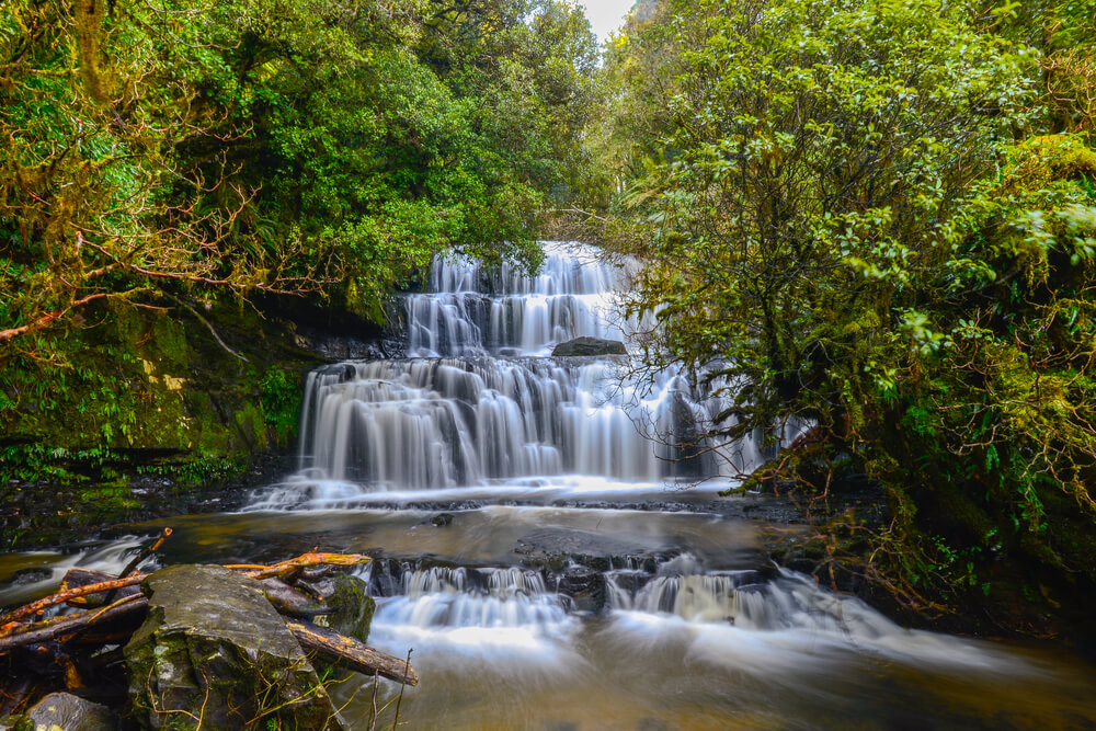 the beautiful Purakaunui Waterfalls