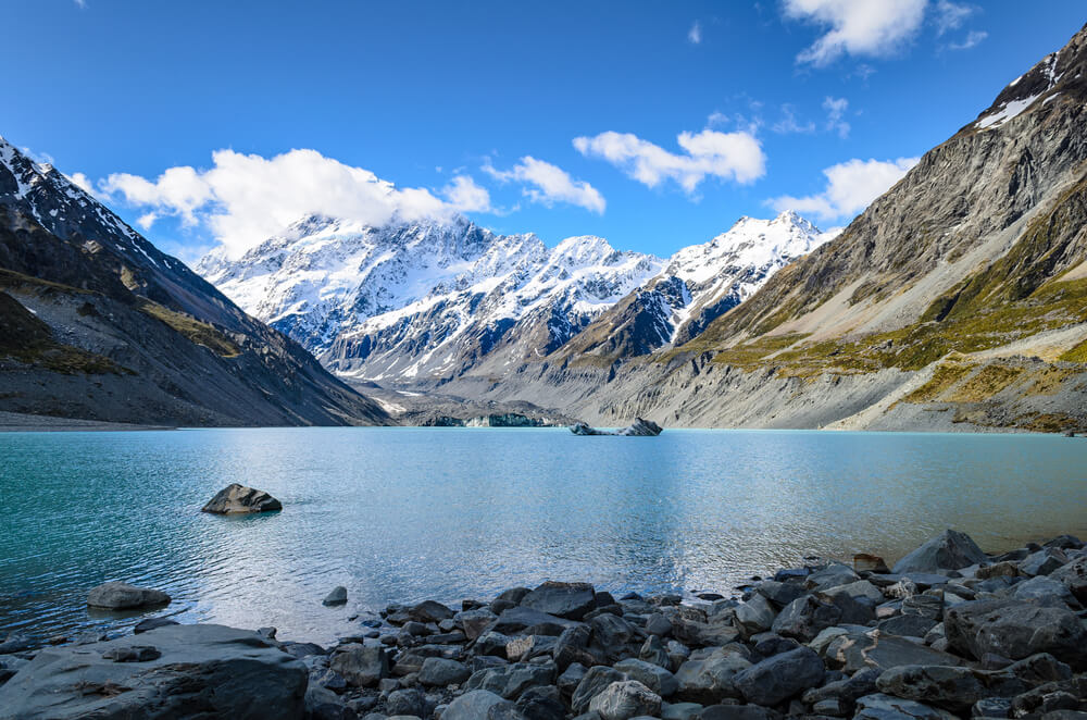Hooker Glacier Lake surrounded by snow capped mountains