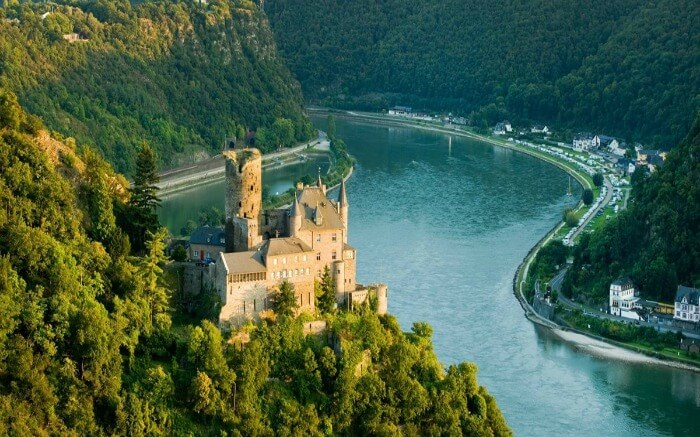 A castle in front of Rhine River in Europe