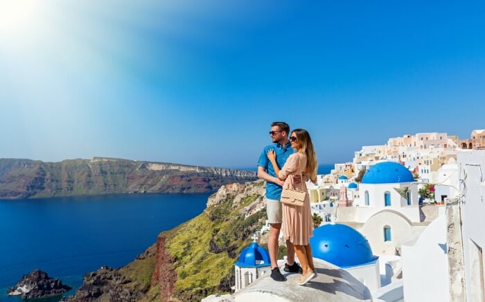 A couple in Santorini