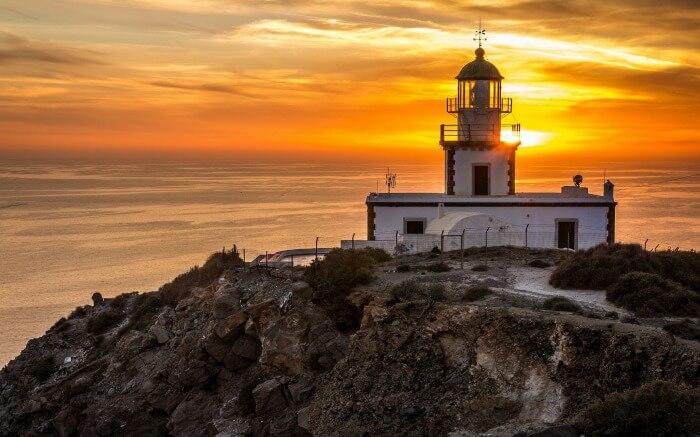 Akrotiri Lighthouse during sunset