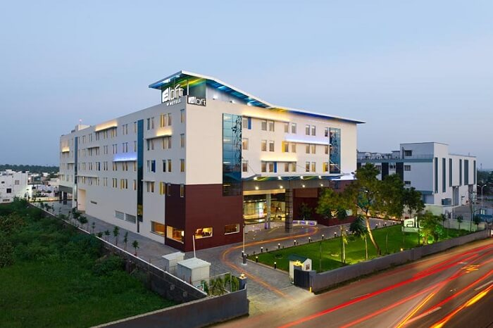 A shot of the exteriors of Aloft Coimbatore Singanallur hotel
