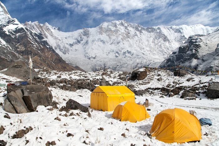 camping in snow during Annapurna Base Camp Trek