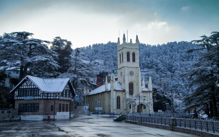 Christ Church in Shimla during winter
