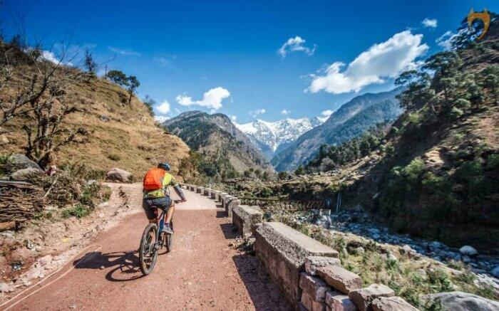 Cycling amidst mountains
