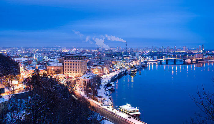 Dnieper River and city View