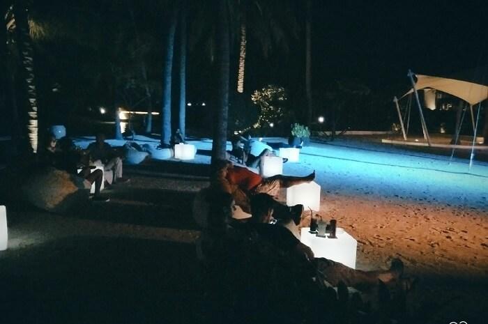 ambuj rashmi at poolside at maldives resort