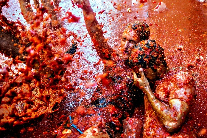 tomato fight at tomatina festival in bunol