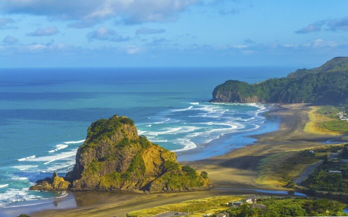 Magnificent beach view at Piha Beach in Auckland