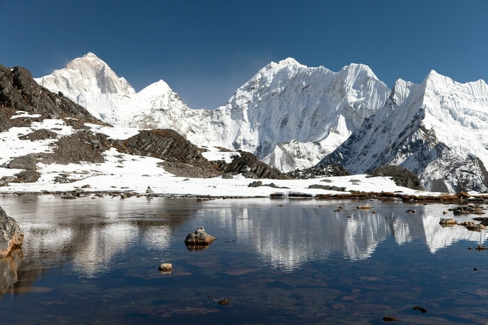 snowcapped mountains and a lake in Makalu Base
