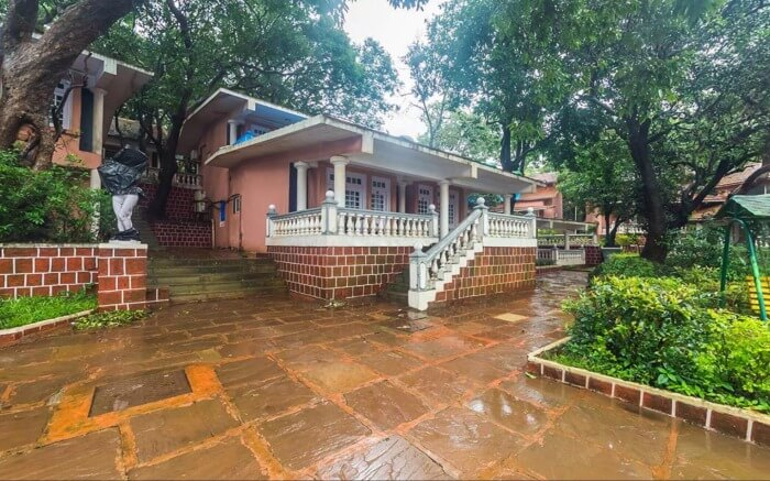 Rain soaked verandah of an old style resort