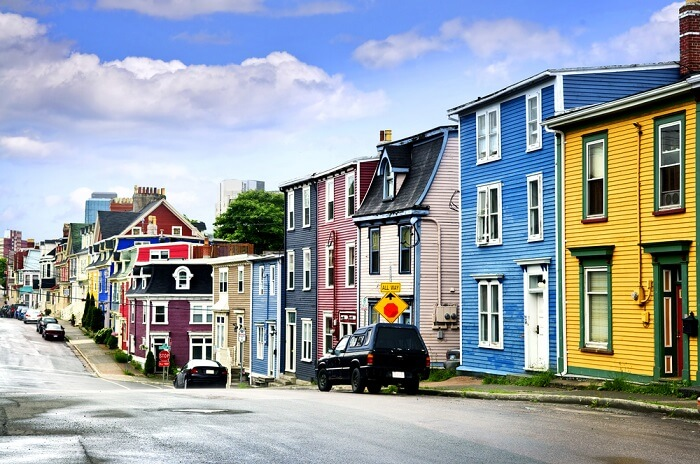 colored houses in St. John's Canada