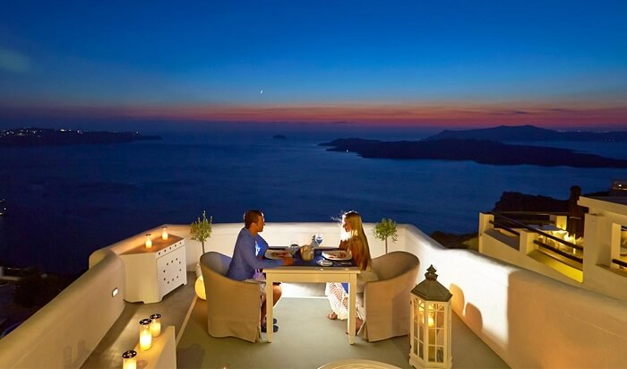 dinner with a view santorini