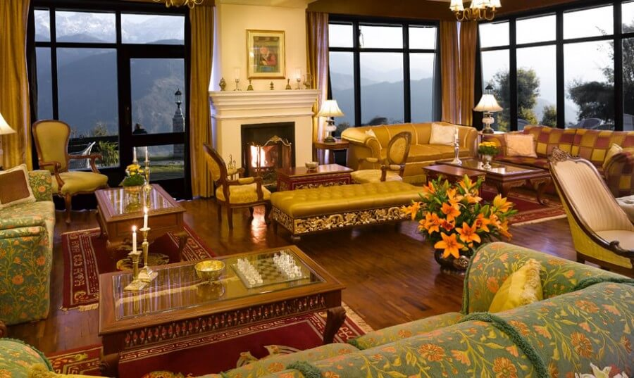 a luxurious sitting room of a resort in Sikkim