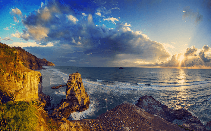 The beautiful Muriwai Beach at sunrise in New Zealand