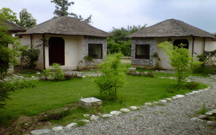 Two cottages with a lush garden outside