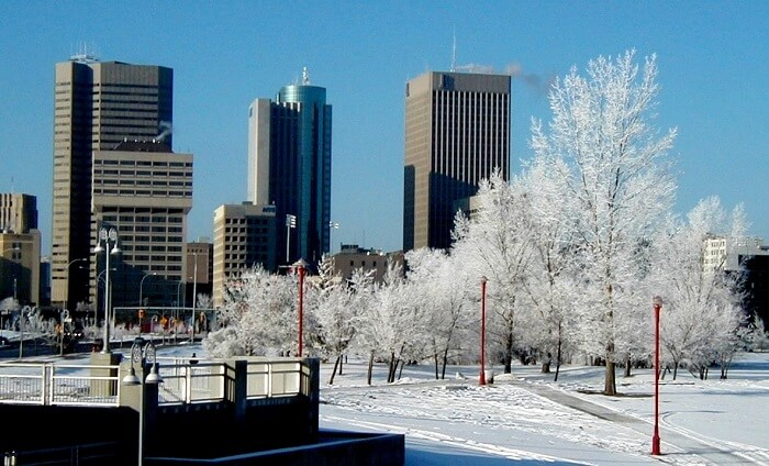 Winnipeg downtown in winter