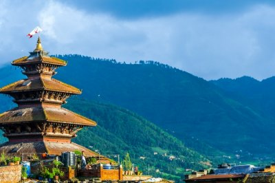 A pagoda style temple in the Himalayas