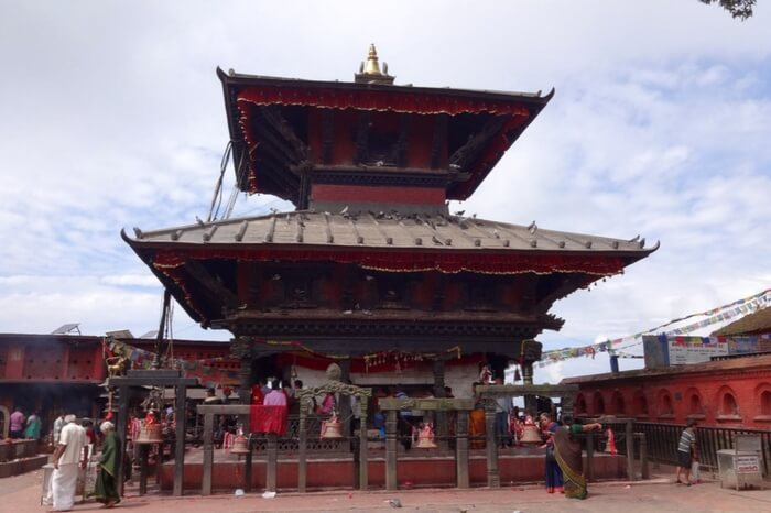 A beautiful ancient temple painted in red