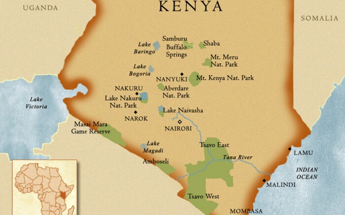The map of national parks in Kenya