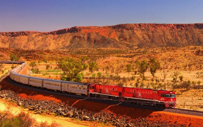 The Ghan in South Australia crossing desert mountains