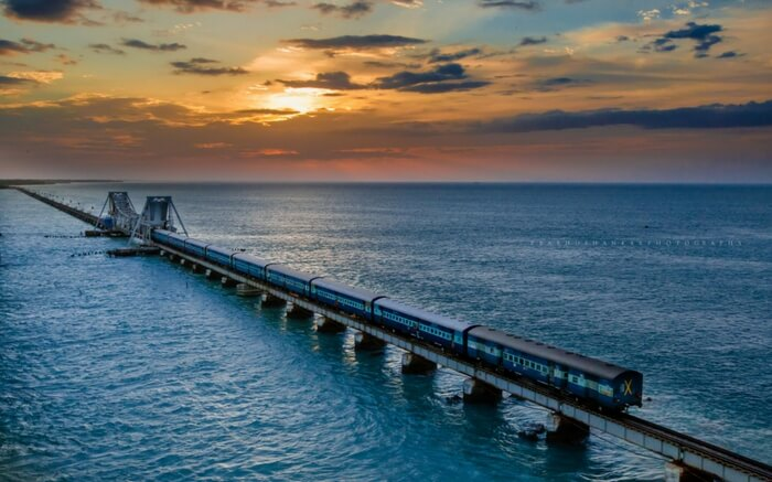 An Indian Railway train crossing the Sea Bridge near Rameshwaram