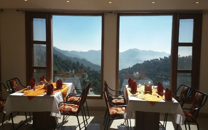 beautiful restaurant overlooking mountains