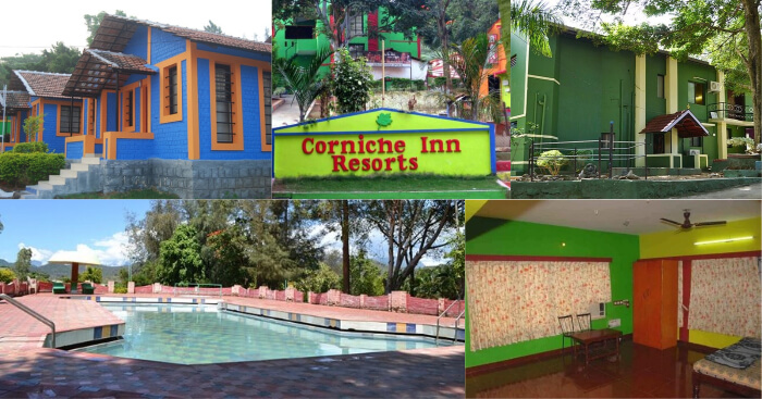 A collage of the various views at the Corniche Inn Resort in Coimbatore