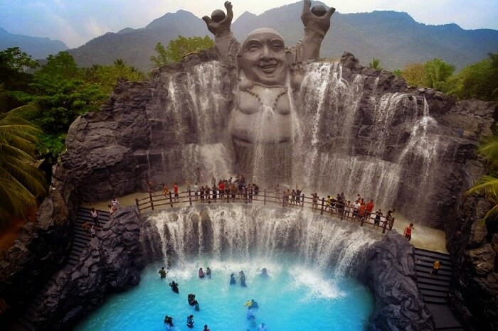 The famous Loucky Falls at the Black Thunder water park in Coimbatore