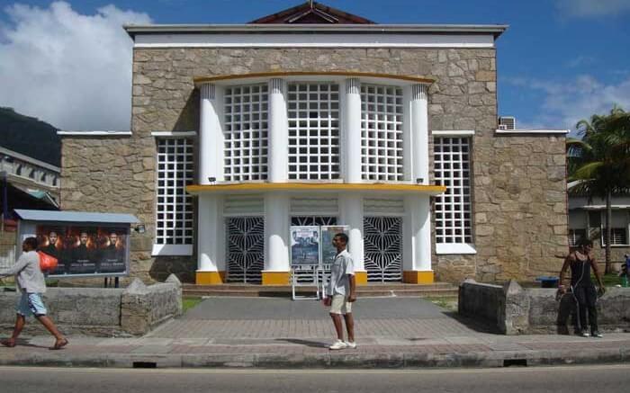 The exteriors of the Deepam Cinema on Mahe island of Seychelles
