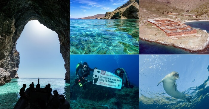 A collage showing the various scenees from the Gyaros island in Greece
