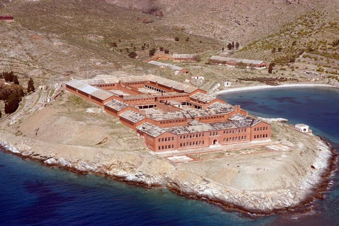 A recent snap of the prison on the island of Gyaros in Greece