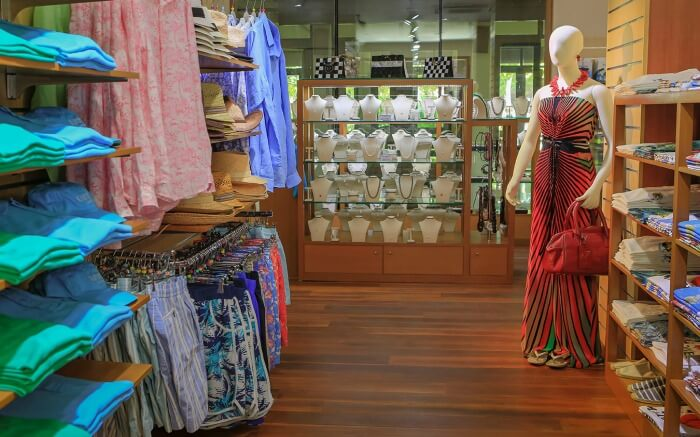 mannequin wearing a dress in a store in Maldives