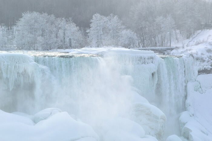 frozen Niagara falls in winter