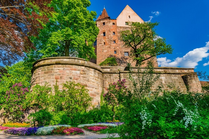 Beautiful view of the historical fortress of Kaiserburg in the historic city center of Nuremberg in Germany
