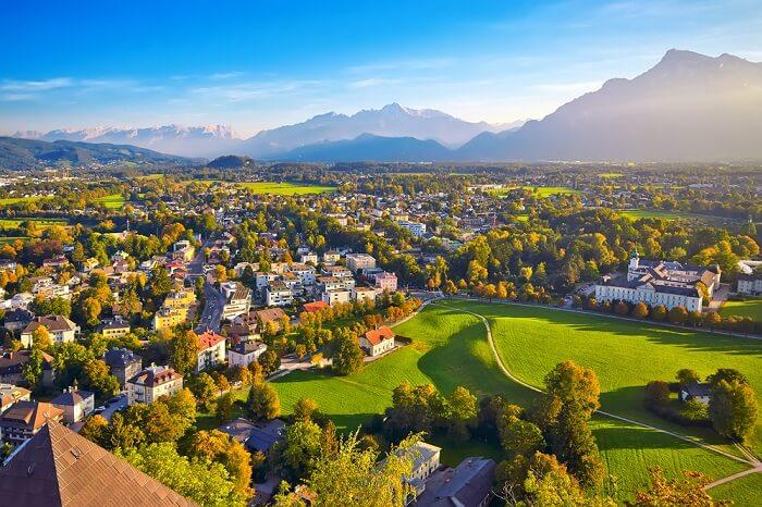 Beautiful view of Salzburg with Festung Hohensalzburg