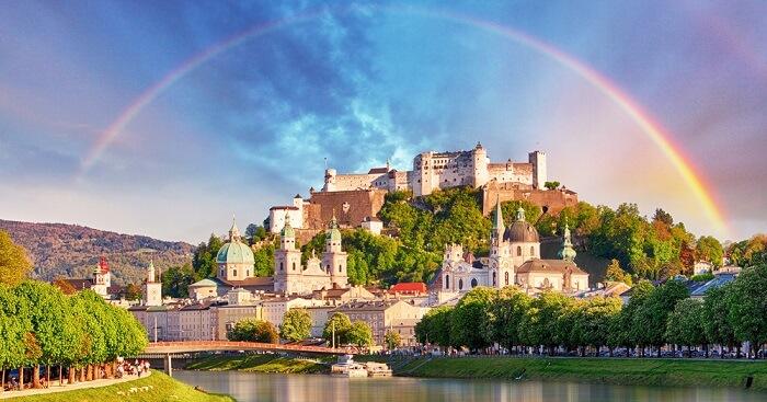 Rainbow over Salzburg castle in Salzburg