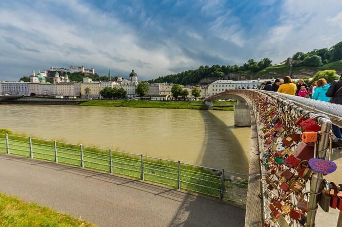 Love padlocks at Makartsteg footbridge in Salzburg