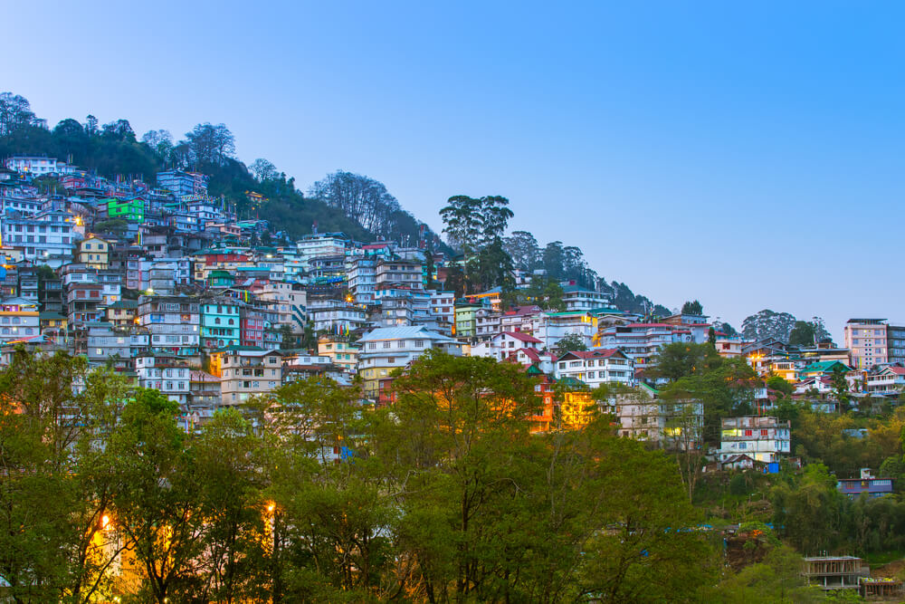 homes and hotels settles on a hillside in Gangtok