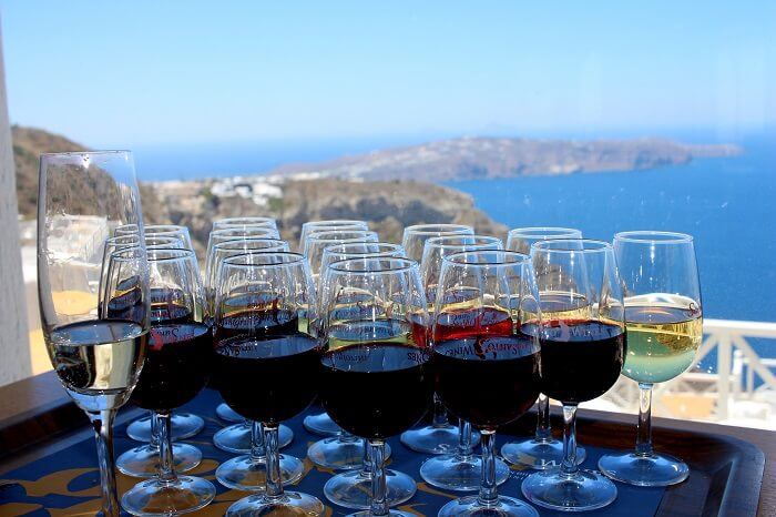 18 wine flight tasting at santo wines santorini