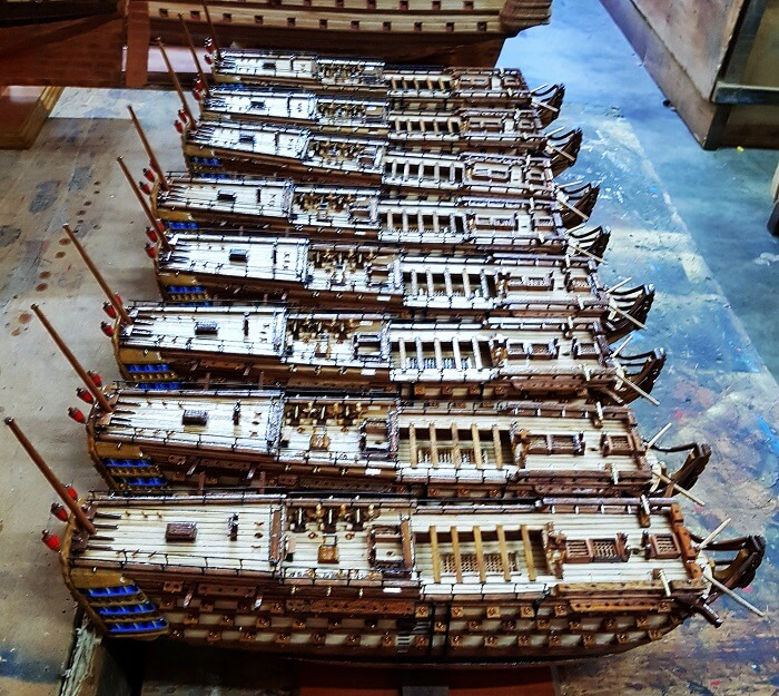 Ship model factory in Mauritius