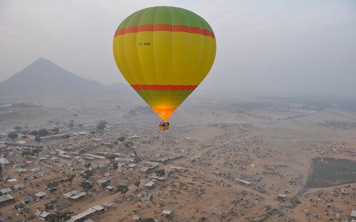 A hot air balloon in Pushkar
