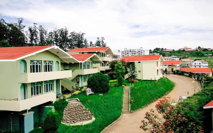 A row of resort rooms in mountains