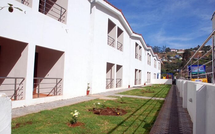 A small garden area in a resort in ooty