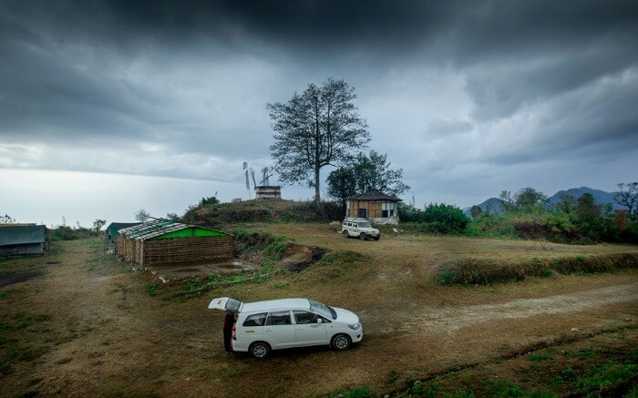 A taxi parked outside the Bompu Camp in Eaglenest Wildlife Sanctuary