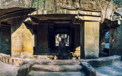 A view of Pataleshwar Cave Temple in Pune