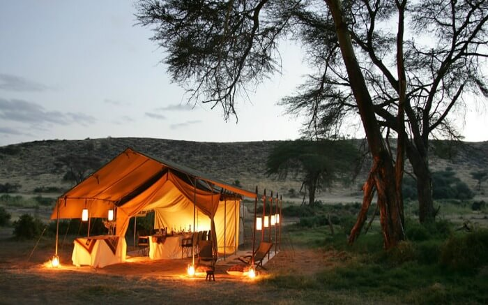 A well-lit Camp Malta in Kenya