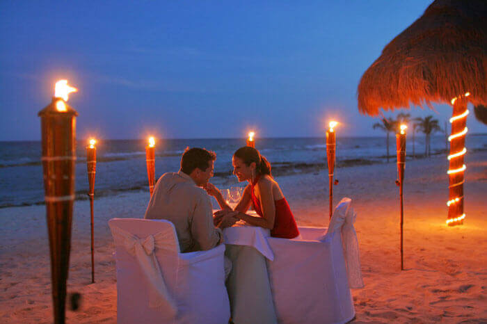 Candle light dinner in Goa